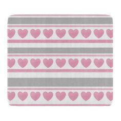 Soft Pink Gray White Hearts and Stripes Cutting Board - individual customized designs custom gift ideas diy