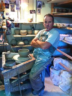 Potter Joe Bennion at the wheel in his shop at Horseshoe Mountain Pottery in Spring City, UT.