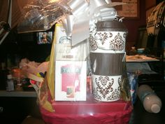 Starbucks Gift Basket #1 - 20  On the Go Coffee Mug, Double Chocolate Biscotti, Marshmallow Hot Chocolate, Tazo Awake Black Tea, House Blend Coffee  Greeting Card Available for 2 dollars