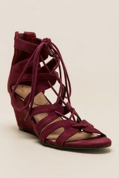 Christina Lace-Up Cutout Wedge