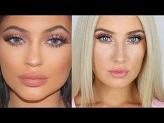 Tutorial on Spring-ish look! Check out more Makeup on Bellashoot. Pink Lips Makeup, Nude Makeup, Blue Eye Makeup, Beauty Makeup, Hair Beauty, Kylie Jenner Makeup Tutorial, Lip Makeup Tutorial, Kylie Jenner Blue Eyes, Beauty Tutorials