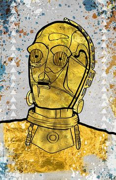 C3PO Poster - Pop Art / Wall Art / Star Wars / Robot Art / Signed by Artist. C3PO Poster - Hand drawn illustration combined with texture,color, and other graphic elements. Printed using archival ink and paper. Size is 13x19 in (includes a 1in border). Signed by me. Colors are vibrant and looks amazing in print.