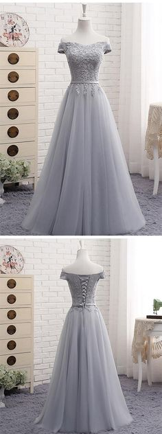 A-Line Gray Lace Evening Dress,Off the Shoulder Prom Dresses,Tulle Lace-up Sweetheart Prom Dress,Sweetheart Elegant Prom Dress,Prom Dresses RE43 #gray #tulle #offshoulder #sweetheart #lace #promdress #elegant #partydress #laceup