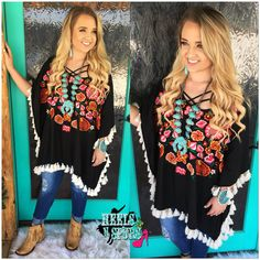 The Fiesta Embroidered Pancho~ Judith March