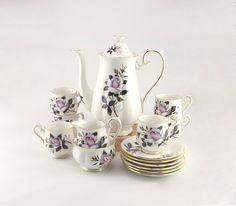 Royal Albert Coffee Set Queen's Messenger Pattern - Vintage Tea Set - Rose Design Fine China - English China - Birthday Gift | shopswell