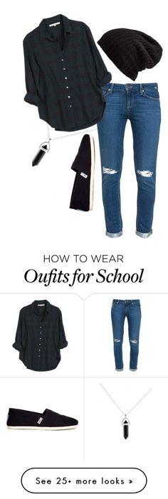 """last school week"" by imsarathepanda on Polyvore featuring Paige Denim, Xirena, TOMS and Free People"