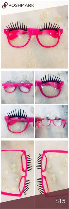 Halloween Pink Lash Glasses  Brand new pink plastic glasses with eyelash embellishments! Accessories Glasses