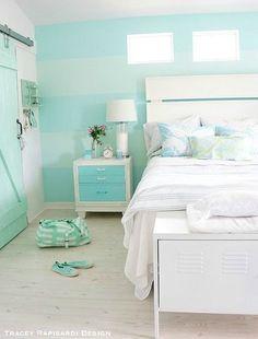 Pastel Blue Cottage Bedroom with Barn Doors for Closet: http://beachblissliving.com/tracey-rapisardis-pastel-beach-cottage-sarasota-fl/: