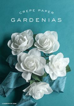 DIY Crepe Paper Gardenias These gorgeous blooms are so easy to make with Italian crepe paper. Tutorial and template included. Origami Paper, Diy Paper, Paper Art, Paper Crafts, Free Paper, Faux Flowers, Diy Flowers, Fabric Flowers, Diy Fleur Papier