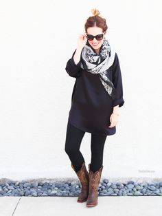 Casual Outfit: Cowboy Boots, oversized scarf, DVF silk black tunic.