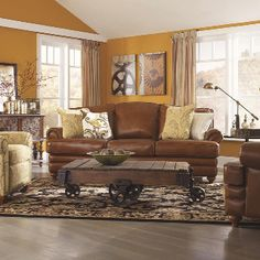 Wooden flooring, leather and cloth mix living room suite