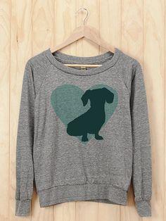 Dachshund Heart Slouchy Pullover - Athletic Heather Raglan Sweatshirt on Etsy, $30.00
