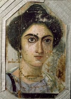 Egyptian Antiquities: Funerary Portrait of Woman. From Fayum, Egypt. Tempera on wood, 2nd century AD. Museo Archeologico, Florence, Italy.