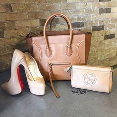 You can never go wrong with neutrals! Shop all items shown on www.mymoshposh.com! #Celine #celinehandbags #celinephantom #christianlouboutin #louboutinworld #redbottoms #gucci #guccisoho #fashion #trendy #luxury #designerhandbags #shoelover #purselover #bagsofTPF #purseblog #moshposhfinds #mymoshposh #designerconsignment