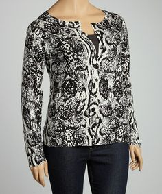 Take a look at this Black & White Snakeskin Cardigan - Plus by Carol Rose on #zulily today!