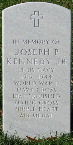 Memorial marker for Joseph P. Kennedy Jr. The oldest Kennedy brother has a memorial marker in Section 45 in Arlington National Cemetery.