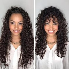 layered curly hair Pretty Long Curly Hair with Bangs If youve been wearing your long curls in too-tight ponytails, you might be noticing that your hairline is getting thin and y Curly Hair Styles, Thin Curly Hair, Curly Hair Updo, Curly Hair With Bangs, Curly Hair Tips, Hairstyles With Bangs, Cool Hairstyles, Natural Hair Styles, Curly Girl