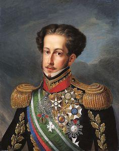 """Dom Pedro IV (Queluz, 12 de outubro de 1798 – Queluz, 24 de setembro de 1834), apelidado de """"o Rei Soldado"""", foi o primeiro Imperador do Brasil como Pedro I de 1822 até sua abdicação em 1831. Filho de João VI e da infanta Carlota Joaquina da Espanha. Pedro viveu seus primeiros anos de vida em Portugal até que tropas francesas invadiram o país em 1807, forçando a transferência da família real para a colônia do Brasil. Casou com Maria Leopoldina da Austria e Amelia de Leuchtenberg,"""