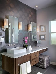 Purple Pion Contemporary Bathroom San Go By Reveal Studio I Never Thought D Catch Myself Saying This But Like Wallpaper