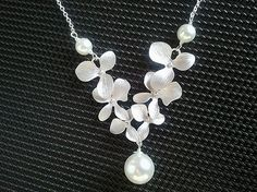 Dangling Triple Orchids Flowers Necklace 2 by LaLaCrystal on Etsy, $25.50