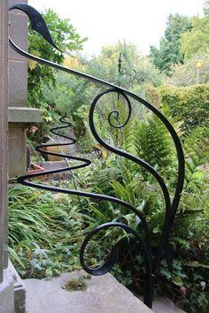 Creative artistic metal handrails outside Edinburgh property, Feature metal handrails outside period property