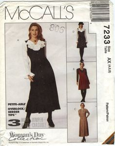 McCall's 7233 Misses' Jumper in Two Lengths and Blouse