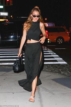 Trend-setter: Gigi - real name Jelena Noura - balanced out the look with a pair of high-waisted harem trousers