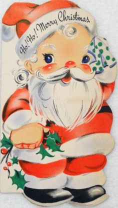 #1764 40s Gibson Santa Wipes His Brow-Vtg Diecut Christmas Card