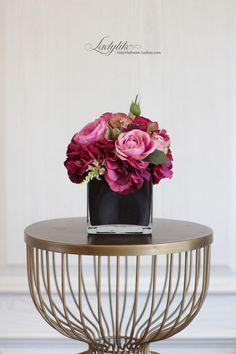 ladylike 高档玫瑰仿真花组合套装 酒店别墅样板房假花组合 美式-淘宝网