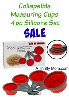 spacesaver for a small kitchen! Collapsible Measuring Cups 4pc Silicone Set On Sale