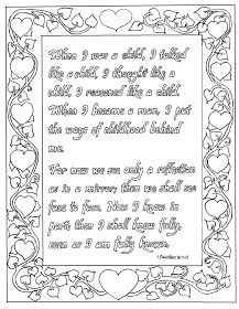 1 Corinthians Coloring Page Here Is A Printable Picture To Color From The Love Chapter