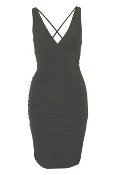 Slinky V Front Ruched Sides Bodycon Dress in Black