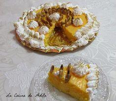 La Cocina de Adita: Tarta capuchina decorada con merengue y almendras