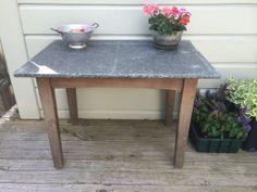 Tin top table.