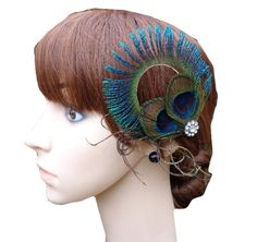 DGI MART Hair Styling Tools Hand-made Circle Peacock Feather Hair Clips Hairpin Hair Band ** See this great product. (This is an affiliate link and I receive a commission for the sales)