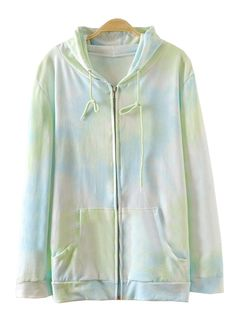 Green Hooded Long Sleeve Rainbow Print Sweatshirt US$37.05