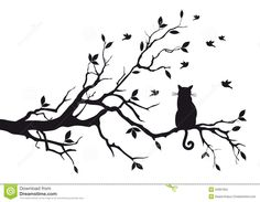 Cat Sitting on Tree Branch Vinyl Wall Art (Black) Silhouette Chat, Vogel Silhouette, Black Cat Silhouette, Tree Silhouette, Couple Silhouette, Silhouette Files, Wall Stickers Animals, Bird Wall Decals, Vinyl Wall Art