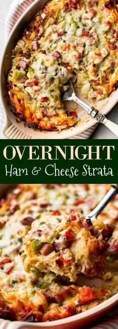 Prep this easy and delicious overnight ham and cheese strata the night before so there's little work in the morning! Recipe on http://sallysbakingaddiction.com