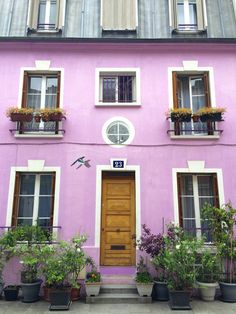 Probably the most colourful house in Paris... on the most colourful street! http://toeuropeandbeyond.com/i-found-the-most-beautiful-street-in-paris-and-its-not-in-montmartre/