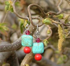 Silver dangle earrings with turquoise, coral and Swarovski crystals - pinned by pin4etsy.com
