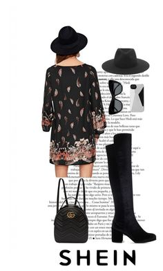 """""""Ornate Print Raglan Sleeve Dress"""" by menoly ❤ liked on Polyvore featuring Stuart Weitzman, Gucci, rag & bone, STELLA McCARTNEY and Marc by Marc Jacobs"""