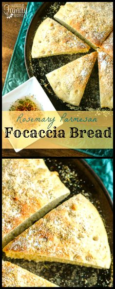 This Rosemary Parmesan Focaccia Bread is perfect for dipping in olive oil or as a side for soup. It is also really tasty for sandwiches. via @favfamilyrecipz