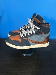 "Authentic Nike Air Jordan 1 Customs ""The Denim Project"" Part 1: Coffee-N-Cream US mens sizes 7 8 9 10 11 12 13 Custom Sneakers, Custom Shoes, Vintage Looks, Jordan 1, Air Jordans, Nike Air, Pairs, Cream, Coffee"