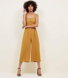 2f6e6fdd99bc Yellow Button Through Culotte Jumpsuit