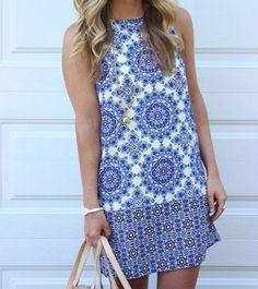 Fall Fashion Blue White Sleeveless Vintage Print Dress