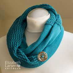 Seashore cotton infinity #scarf knitted in a soft #cotton and decorated with a hand crafted #button in resin and grains of sand from the sea shores of the Scottish Highlands. #Scotland #Seashore