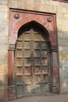 New Delhi - ancient door at Purana Qila, New Delhi, India