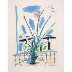 Pablo Picasso - Le Bouquet Lithograph (€3.490) ❤ liked on Polyvore featuring home, home decor, wall art, new york city wall art, new york city painting, paper sculpture, photo sculpture and spanish home decor