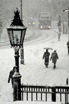 Snowstorm, Trafalgar Square, London