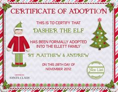 elf on the shelf welcome latters | ... letter from Santa. On Dasher's first night, he'd come back and deliver